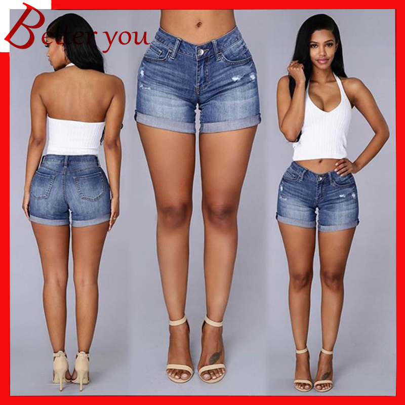2019 summer shorts women new curling denim hot female casual for