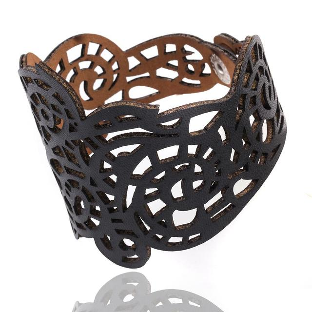 17KM Hollow Design Wholesale Jewelry Charm Faux Leather Bracelet Braided Rope Wristband Bracelets For Women