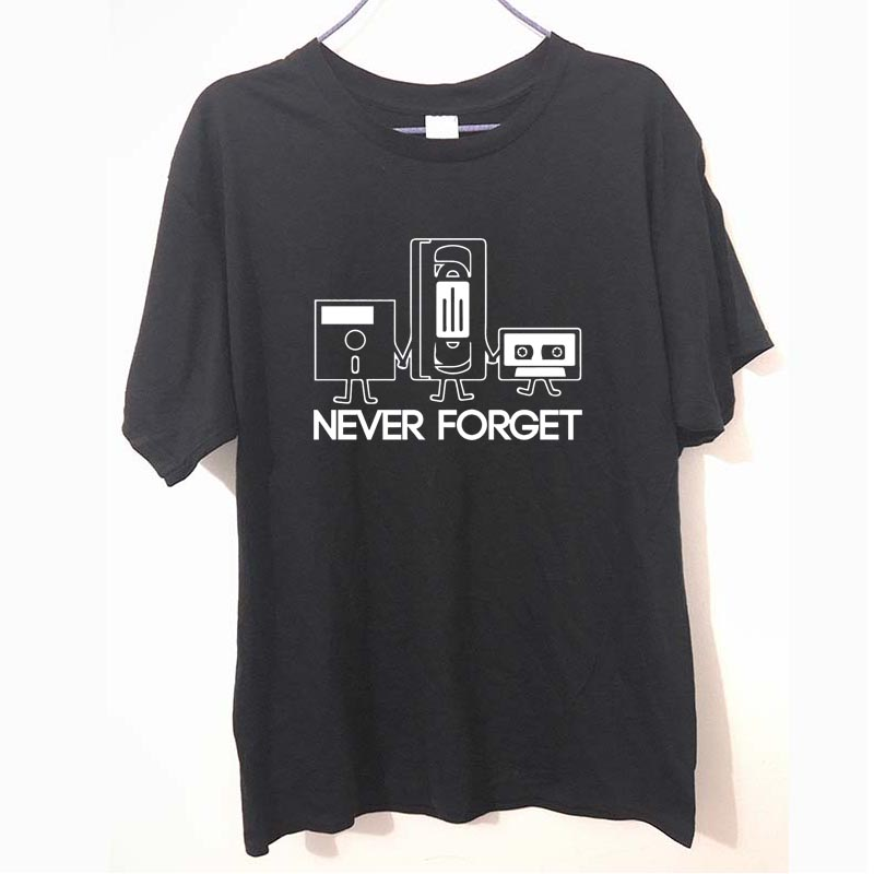 Fashion New T-shirts Men Short Sleeve Never Forget Floppy Disc Cassette Tech Geek Print T Shirts Male Undershirts Tshirts
