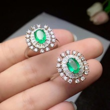100% 925 sterling silver real Natural green Emerald Rings fine Jewelry gift women trendy open wholesale 5*7 cj050702agml mobuy trendy real 100
