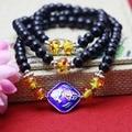 6 мм ретро стиль черный агат натуральный камень бусины тибет серебряный кристалл халцедон браслет ручной цепи женщины девушки украшение