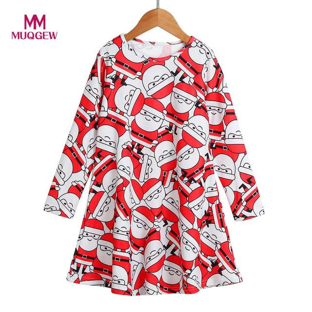 Toddler Kids Christmas Dress Printed Clothes Long Sleeve Party
