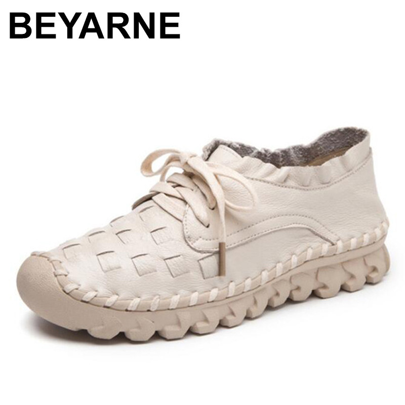 BEYARNE Flat Shoes Women Breathable Women Sneakers Footwear High Quality Women Flats Genuine Leather Casual Shoes women s shoes 2017 summer new fashion footwear women s air network flat shoes breathable comfortable casual shoes jdt103