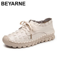 BEYARNE Flat Shoes Women Breathable Women Sneakers Footwear High Quality Women Flats Genuine Leather Casual Shoes