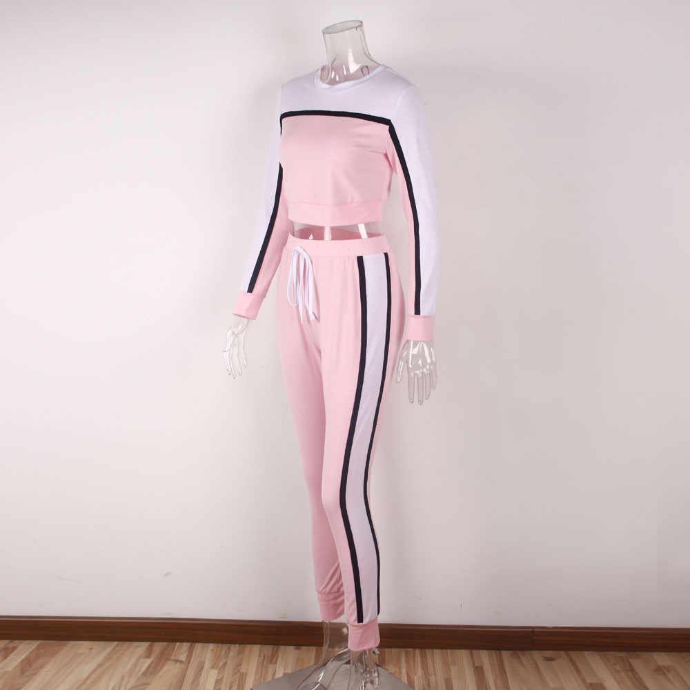 2 sztuk kobiety dres bluza spodnie zestawy sportowe z długim rękawem nosić conjunto moletom feminino dropship #0613