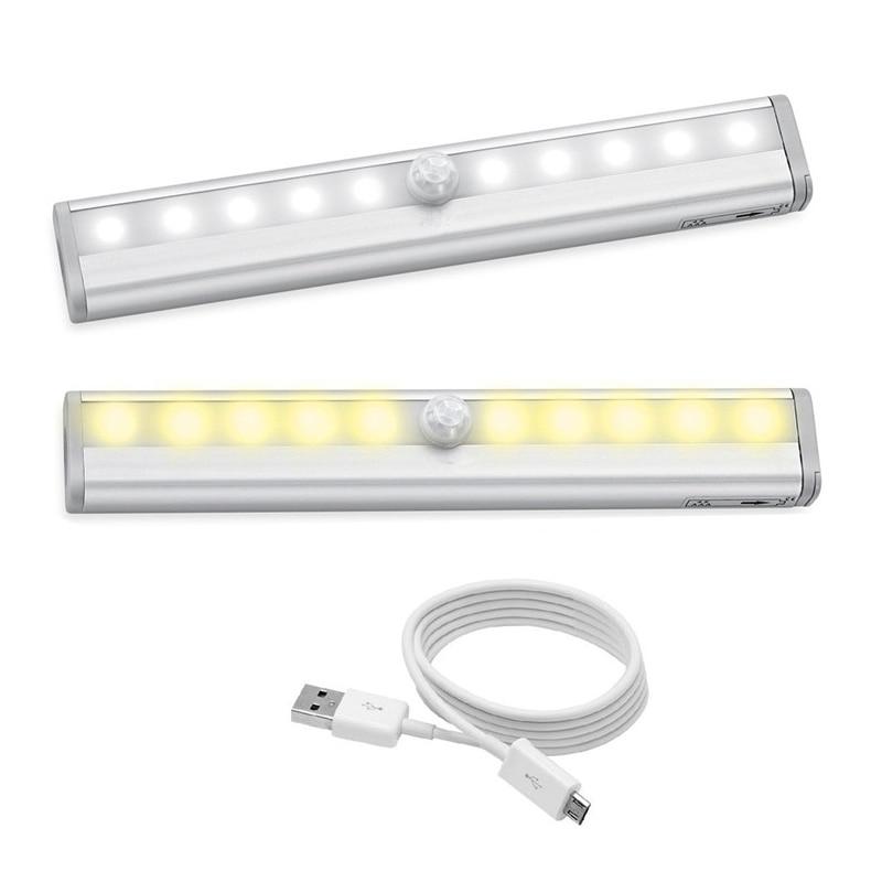JXSFLYE Motion Sensing Closet Lights USB Rechargeable Led 10 LED Wireless Night Light for Cabinet Closet