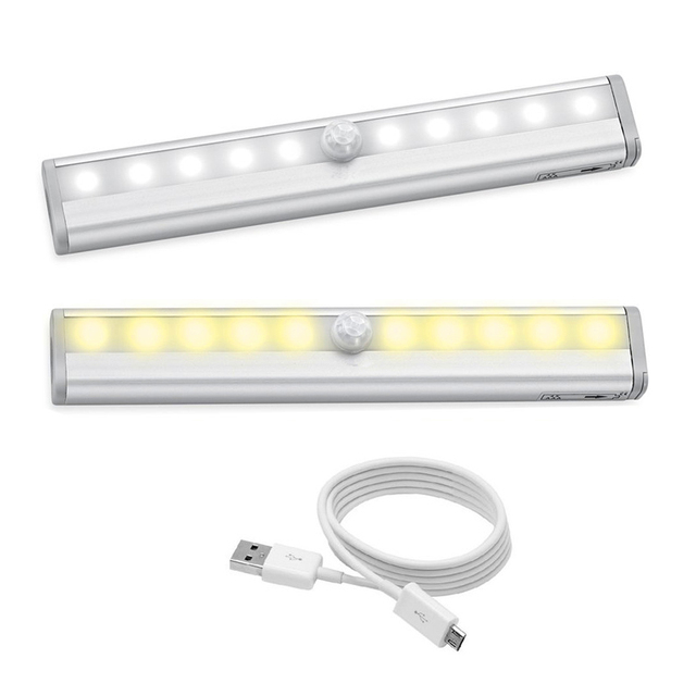 JXSFLYE Motion Sensing Closet Lights, USB Rechargeable Led, 10 LED Wireless Night Light for Cabinet, Closet, Wardrobe, Stairs