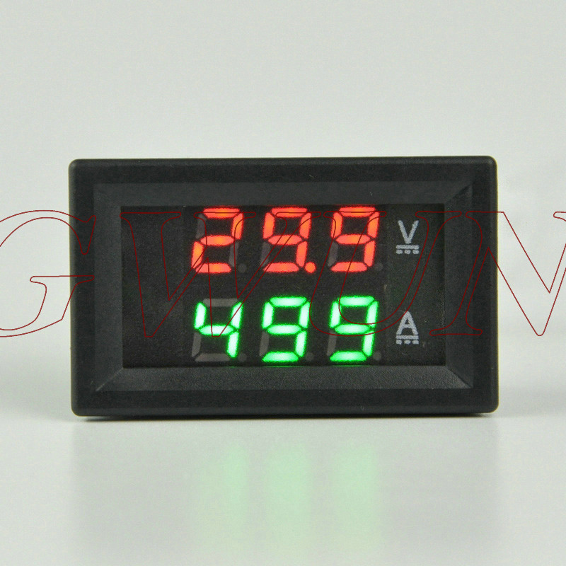 GWUNW BY32A 0-100V 0-500A DC Digital Voltage Ammeter Current Tester Meter Voltmeter Dual LED Display Red Blue green yellow LED