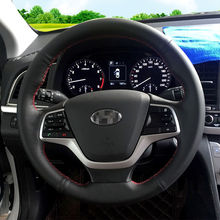 BANNIS Black Artificial Leather DIY Hand-stitched Steering Wheel Cover for Hyundai Elantra 4 2016 2017