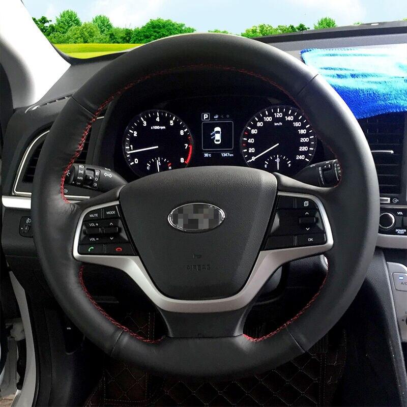 BANNIS Noir Cuir Artificiel BRICOLAGE à La Main Couvercle Du Volant cousu pour Hyundai Elantra 4 2016 2017