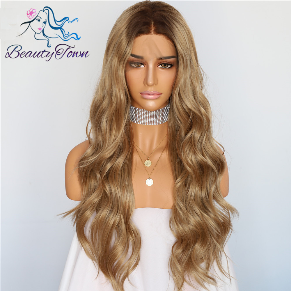 BeautyTown #8 Ombre Brown Natural Wave Heat Resistant Hair Women Wedding Party Halloween Present Synthetic Lace Front Daily Wigs(China)