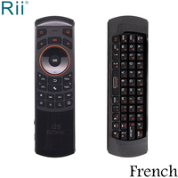 Rii i25 French Keyboard Mini 2.4GHz Wireless Keyboard Air Mouse with IR Function for Android TV Box/Mini PC/Laptop
