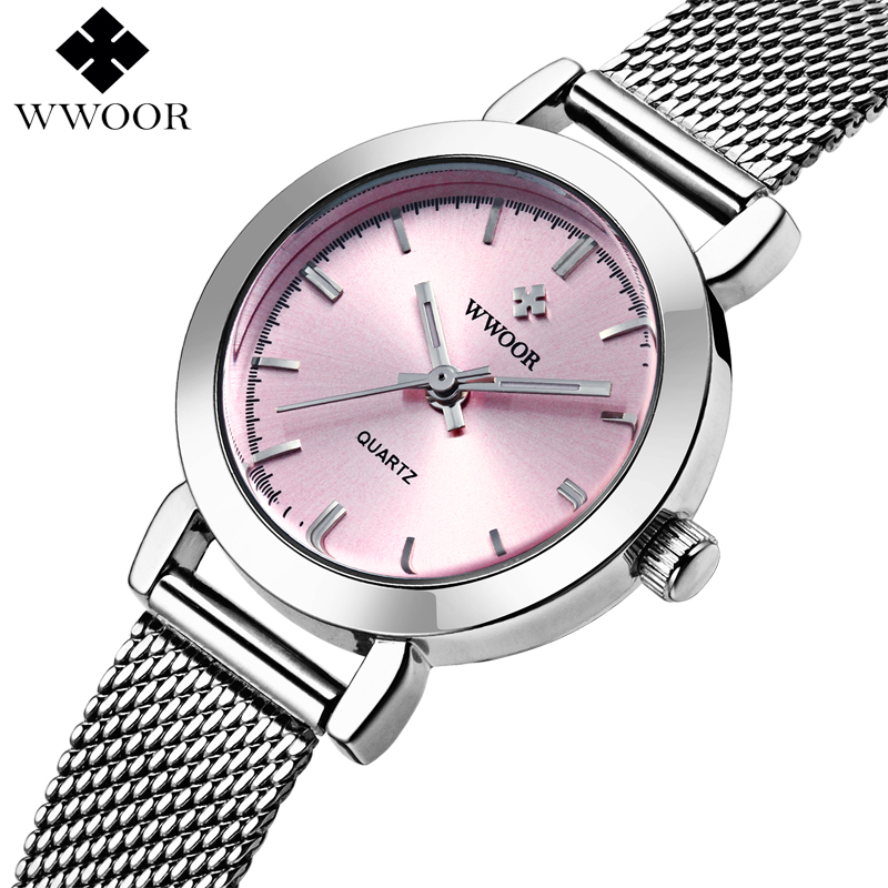WWOOR Brand Luxury Ladies Quartz Watch Women Watches Female Stainless Steel Bracelet Wrist Watch Silver Clock relogio feminino vintage silver quartz watch fashion stainless steel luxury women watches rhinestone ladies bracelet watches relogio feminino