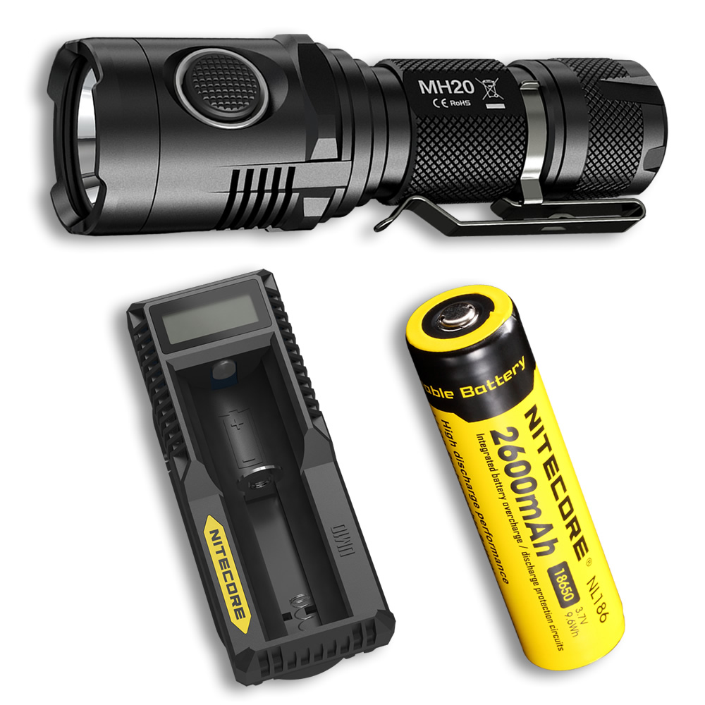 NITECORE MH20 Flashlight + 18650 Battery + UM10 Charger 1000 Lumens CREE XM-L2 U2 LED USB Rechargeable MINI Torch Free Shipping nitecore p20 flashlight cree xm l2 u2 led max 800lm led torch for outdoor sports 3500mah 18650 battery and um10 charger