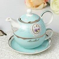 Luxury European Style Ceramic Bone China Coffee Cup Teapot Set Platinum Pot Coffee Maker 3pcs Set