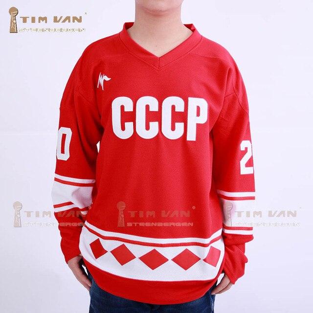 TIM VAN STEENBERGE Vladislav Tretiak 20 CCCP Hockey Jersey Stitched Sewn-Red b7ac2a842
