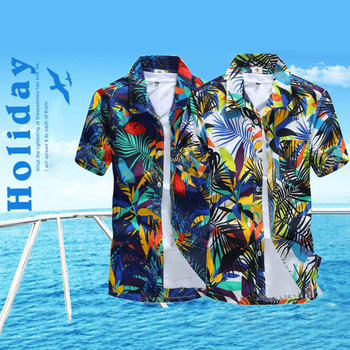 Summer 2018 Men's Beach Shirt Short Sleeve Floral Print Hawaiian Style Casual Beach Shirt Quick Dry Large size Men Holiday Shirt