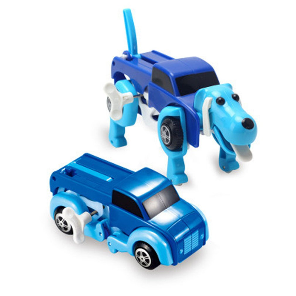 OCDAY New Cool Automatic transform Dog Car Vehicle Clockwork Wind up toy for Children Robot Dog kids Boy Girl Toy Gifts