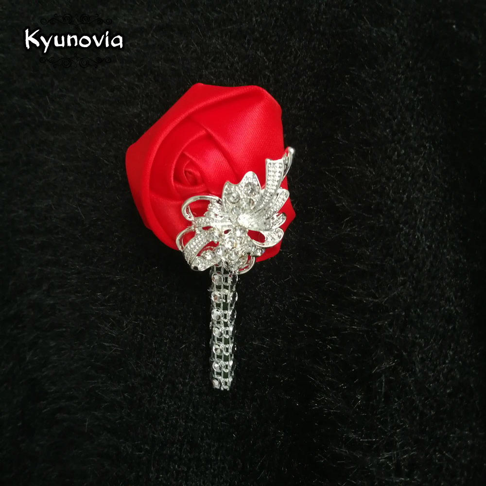 Kyunovia Wedding Boutonniere Groomsmen Boutonniere Groom Brooch Buttonholes Prom <font><b>Marriage</b></font> Corsage Boutonnieres D129 image