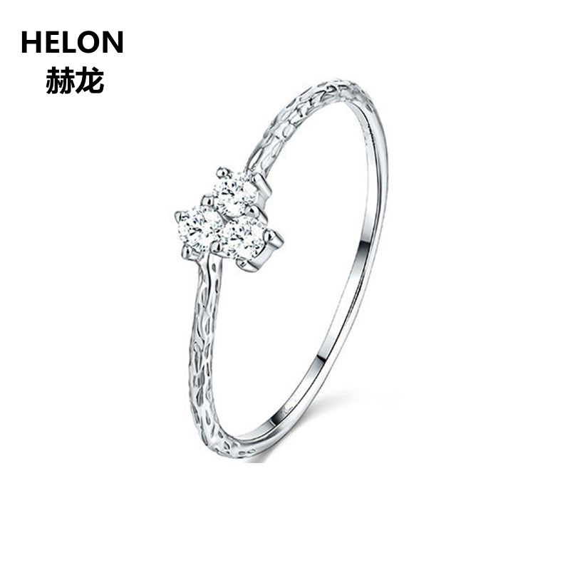 Solid 14k Whie God Women Vintage Ring Three Stone Cubic Zirconia CZ Engagement Wedding Ring
