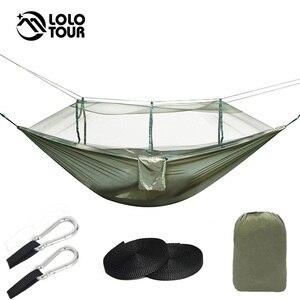 Image 5 - Spadochron z nylonu podwójny Hamak namiot siatkowy dwustronny Bug moskitiera Hamak huśtawka Hamak wiszące łóżko meble ogrodowe