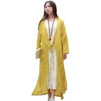 2017 Spring Women Tops Yellow Cardigan Hand Drawing Lark Summer Coat Cotton Linen Trench Coat 9