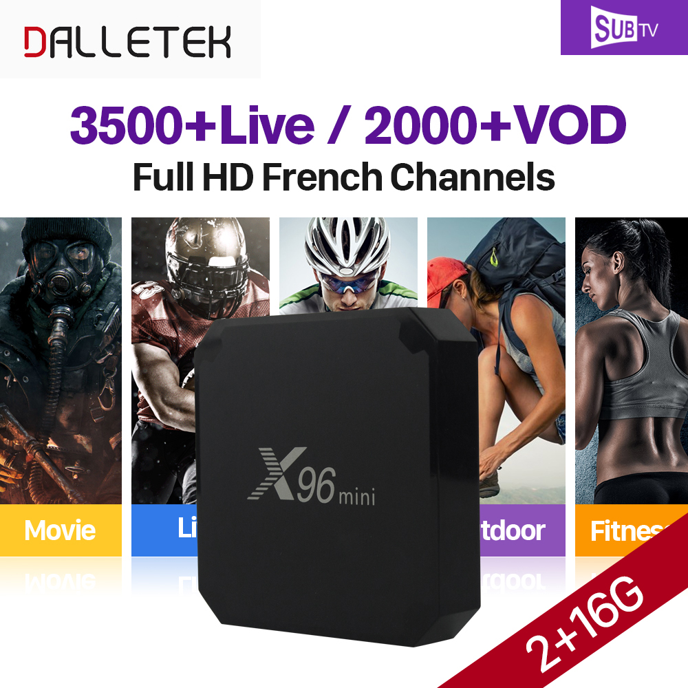 X96 mini 2GB 16GB Android 7.1 Smart TV Box Amlogic S905W Quad Core 4K H.265 Set Top Box SUBTV Arabic French IPTV Top Box