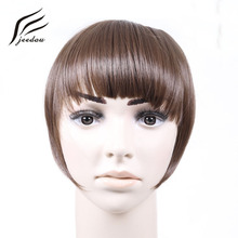 Jeedou Synthetic Hair Bangs 2Clips Clip In Hårförlängning 30g Black Brown Blonde 18Colors Side Symmetri Fringe Bangs Hairpieces