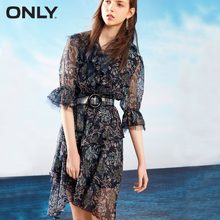 ONLY Autumn flare sleeves chiffon dress female | 118207633(China)