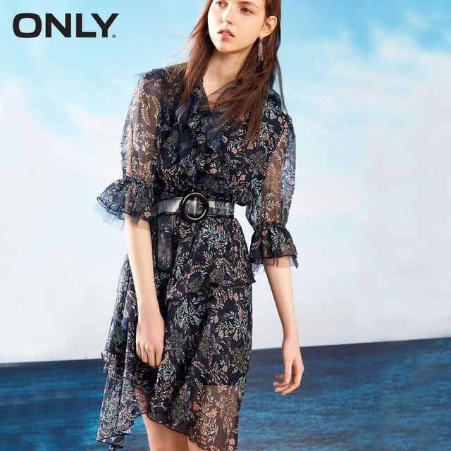 ONLY  Autumn flare sleeves chiffon dress female | 118207633