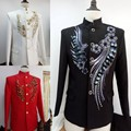 (Jacket +pants)2016 new  Chinese tunic suit male wedding formal dress male singer host stage costume prom emcee star nightclub
