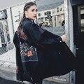 [XITAO] 2017 nueva moda femenina de Corea Del estilo de la calle y pesada rivet bordado recta cintura abrigo rompevientos MMJ001