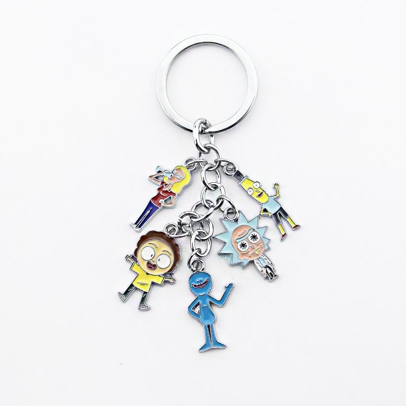 Anime Rick And Morty Keyring Action Figure Collection Model Toy Pendant Rick Morty Keychain Jewelry Gift For Man