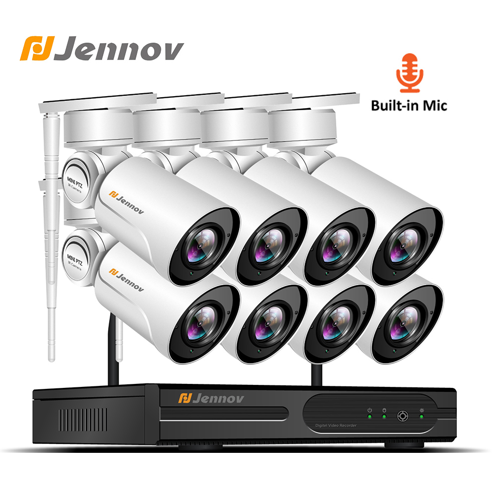 Jennov 8CH 1080P PTZ IP Camera Wifi Security Camera System Video Surveillance 2MP Wireless NVR CCTV Camera System Audio System