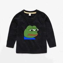 2T-12 Пепе ребенок футболка с длинным рукавом Дети Детская летняя симпатичная одежда для мальчиков топы для девочек Футболка pepe b032