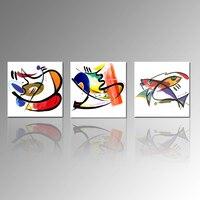 Абстрактная Живопись Печать на Холсте Изображение Рыбы Печати Кухня, Стены, Декор Пейзаж Украшения Стены Искусства набор из 3 БЕЗ РАМКИ