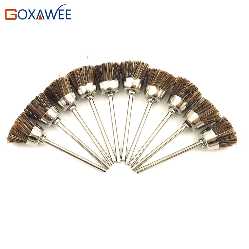 GOXAWEE 10pcs Abrasive Cup Brush Polishing Wheel Brush Horse Hair Cup Brushes For Dremel Accessories Engraver Polishing Tools