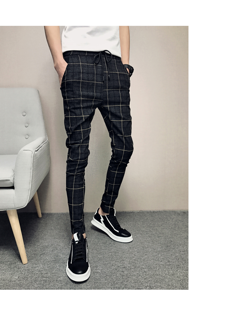 New Pants Men Slim Fit British Plaid Mens Pants Fashion High Quality 2020 Summer Casual Young Man Hip Hop Trousers Male Hot Sale 15