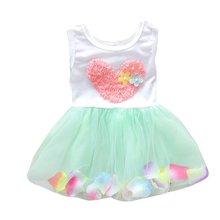 Summer Girls Heart One Piece Dress Flower Princess Tutu Cotton Sleeveless Kids Dress цена