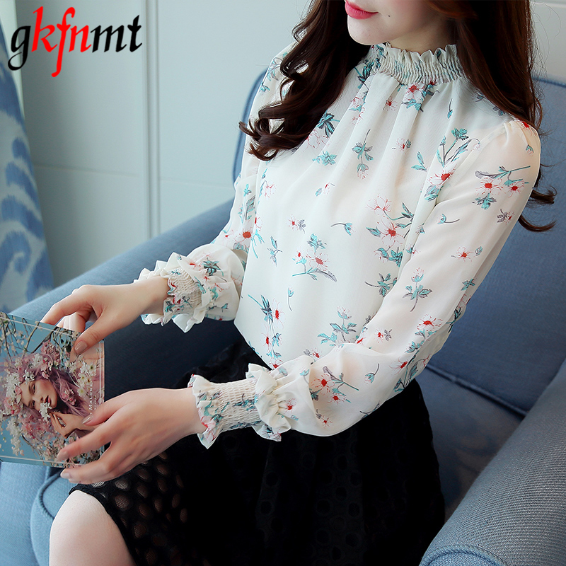 Blouses White 2018 Fashion Floral Chiffon Shirt Summer Tops print Gkfnmt Print White Blusa Spring Chemise Blouse Long Women Female Sleeve Femme Xxl IwfgT