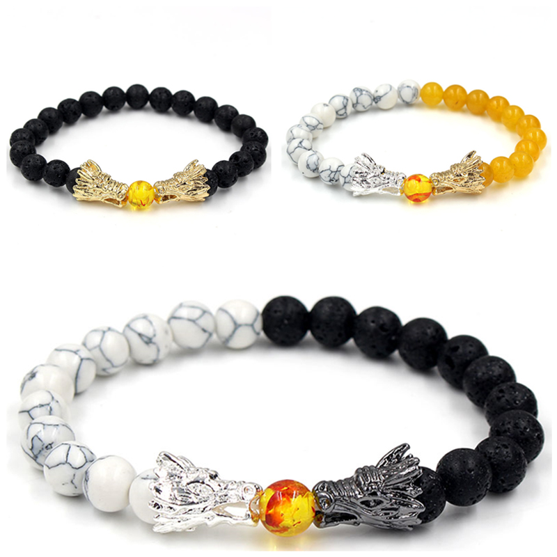 Natural Black Lava & White Howlite Stone Beads Bracelet Pulseira Masculina Mens Jewelry Buddha Dragon Bead Bracelet For Women