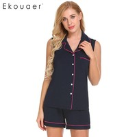 Ekouaer Summer Pajama Sets Women Sleepwear Soft Comfort Sleeveless High Waist Cami Top And Shorts Pajama
