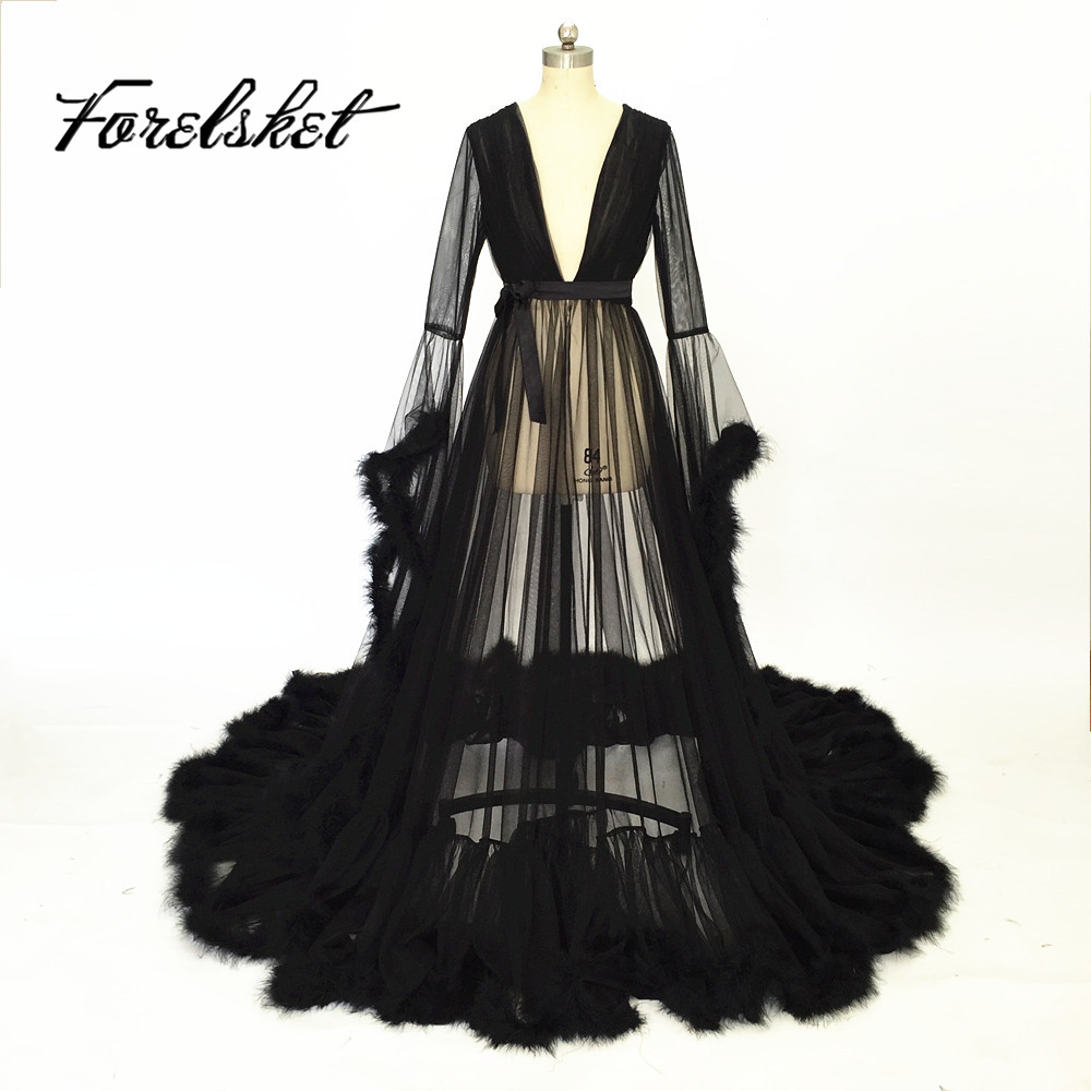 Robe de soiree Sexy Black Lace V Neck Long Prom Dresses 2017 long tail Bathrobe Long Sleeves black Evening Dresses For women