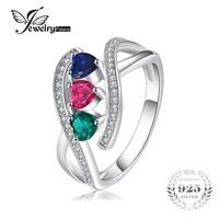 JewelryPalaceสร้างไพลินมรกตทับทิมแหวน100%ของแข็งเงินแท้925