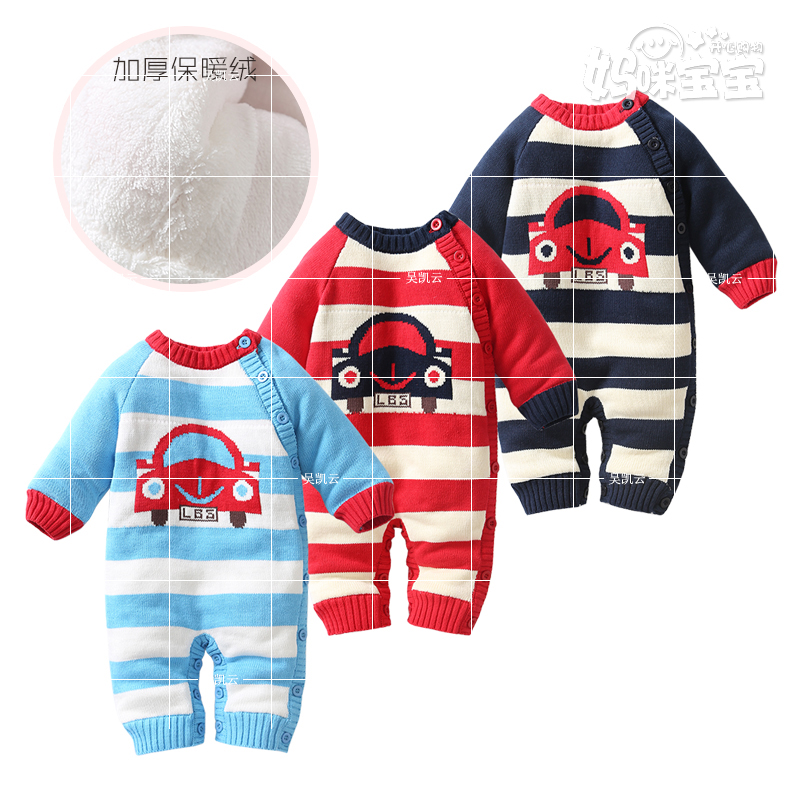 Baby jumpsuit spring autumn  Thick Climbing Clothes Newborn Boys Girls Warm Knitted Sweater Christmas Outwear coat one piece new autumn winter little boys girls baby solid color cute rabbit thick warm long coat white duck down jacket outwear clothes