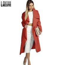 Laisiyi New Women Trench Coat Winter&Autumn Wool Coat Long Warm Windbreaker Plus Size Wide Waisted Overcoat ASCO20007