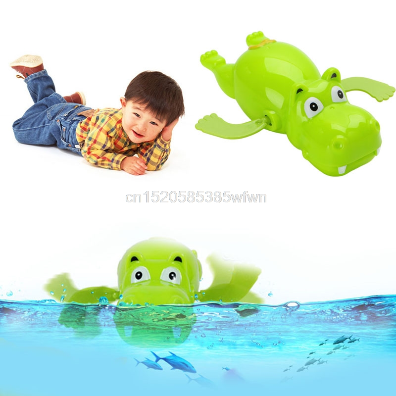 Children Baby Bathing Float Hippo Animal Clockwork Dabbling Toy Funny #HC6U# Drop shipping