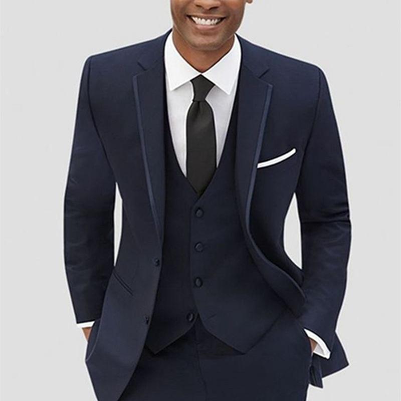 Latest Coat Pant Designs Navy Blue Formal Custom Groom Blazer suit Wedding Men Suits 3 Piece Slim Fit Terno Jacket+Vest+Pants