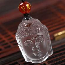 Чистого природного кварца Белый Кристалл Резьба головы Будды