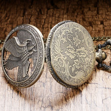 Vinage Bronze Hollow Eagle design pocket Watch Necklace Ladies Necklace Pendant Watch Quartz Clock